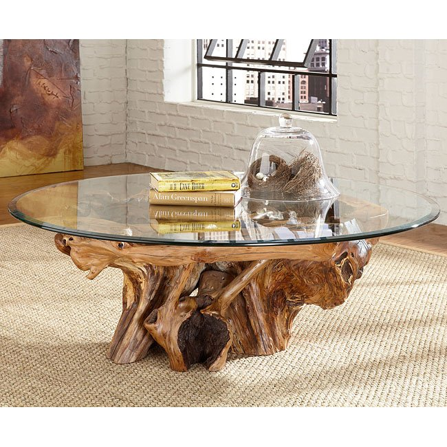 Root And Glass Coffee Table: Hidden Treasures Root Ball Cocktail Table
