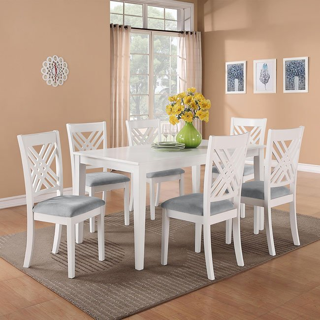 Brooklyn White 7 Piece Dining Room Set Formal Dining Sets Dining Room And Kitchen Furniture