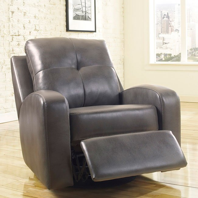 Mannix DuraBlend Gray Swivel Glider Recliner Signature