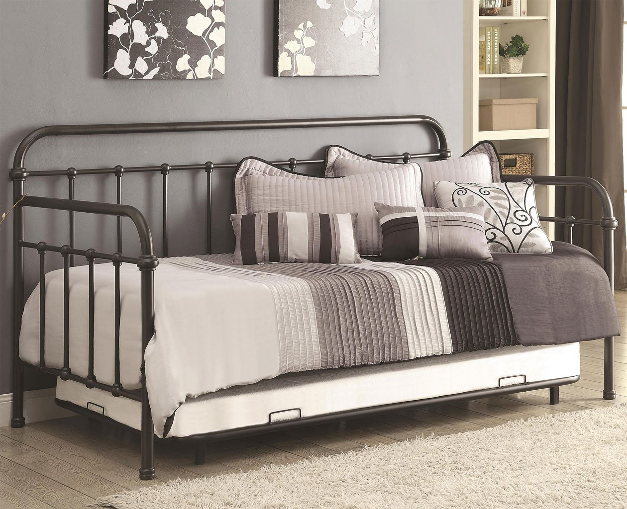 Dark Bronze Metal Daybed w/ Trundle - Bedroom Furniture - Bedroom