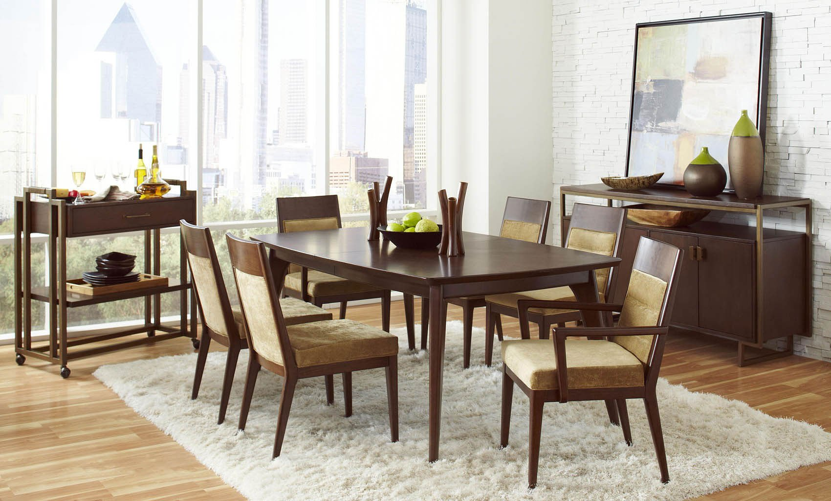 modern harmony dining room set w upholstered chairs