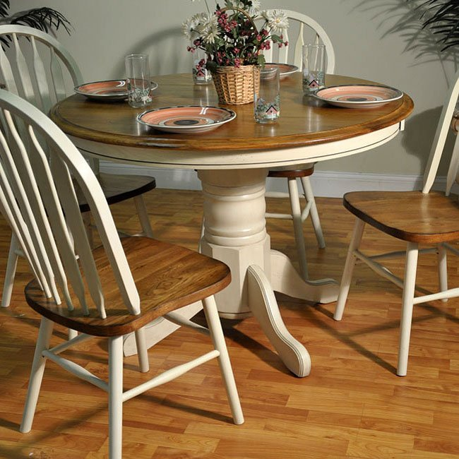 Round Oak Kitchen Table And Chairs: Antique White And Oak Round Dining Table