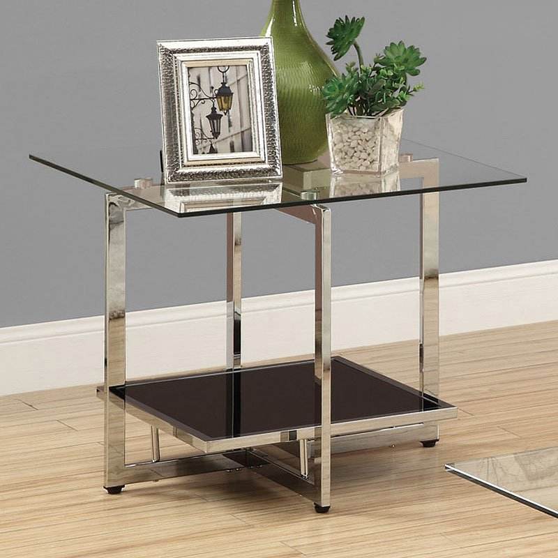 Chrome end table w black glass shelf end tables occasional and accent furniture living room for Glass end tables for living room