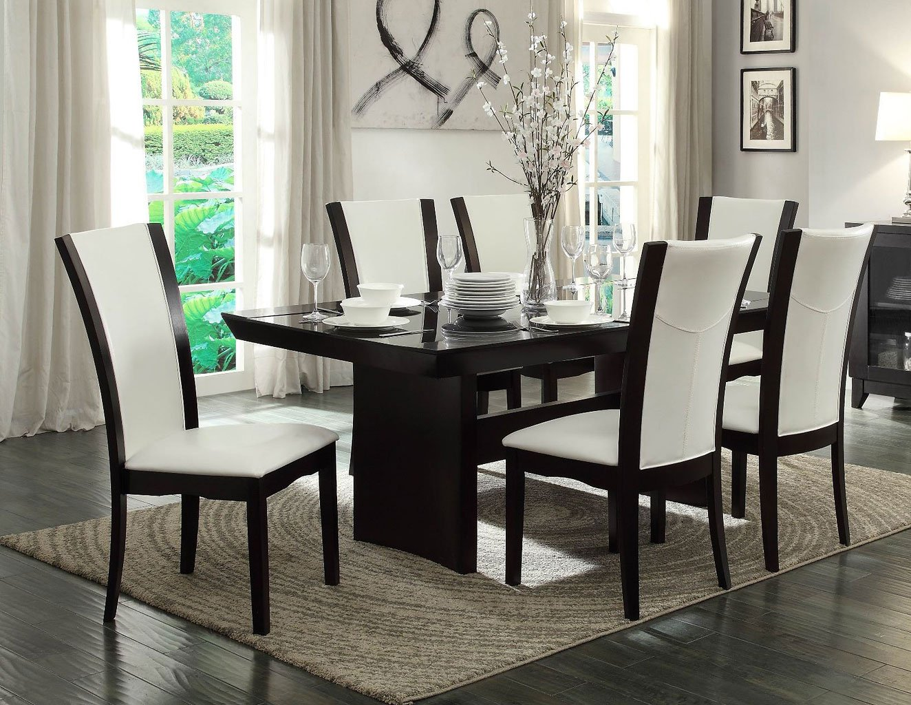 daisy glass insert dining room set w white chairs