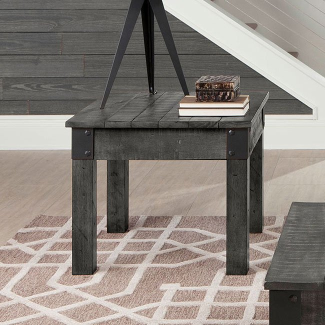 Distressed Country End Table Rustic Grey End Tables
