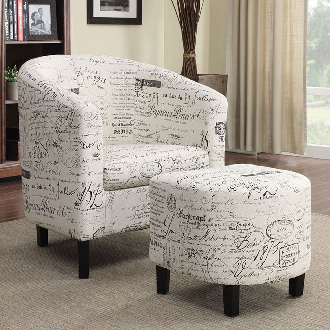 French Script Pattern Accent Chair W Ottoman Coaster
