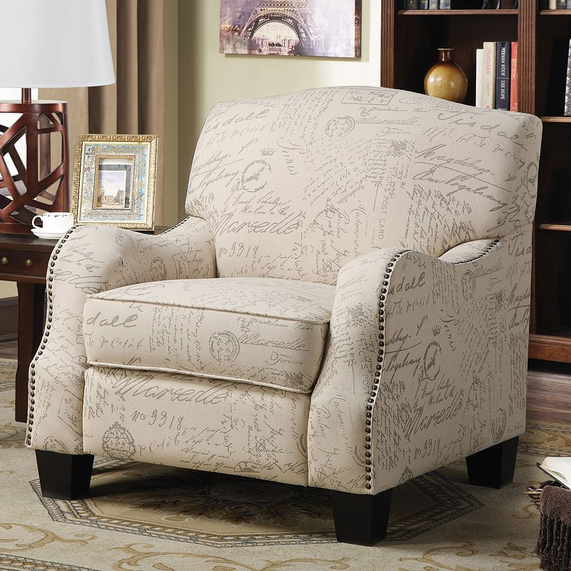 Cream Accent Chair W French Script Print Accent Chairs