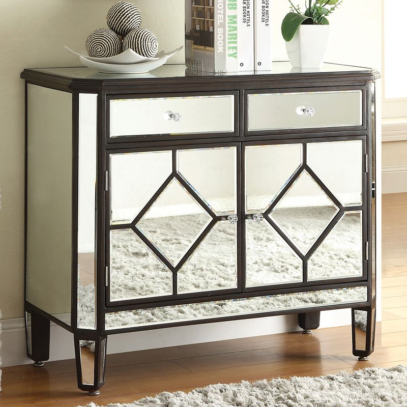 Mirrored Accent Cabinet W Brown Trim Accent Chests And Cabinets Occasional And Accent