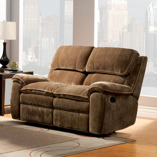 Reilly Double Reclining Loveseat Brown Homelegance