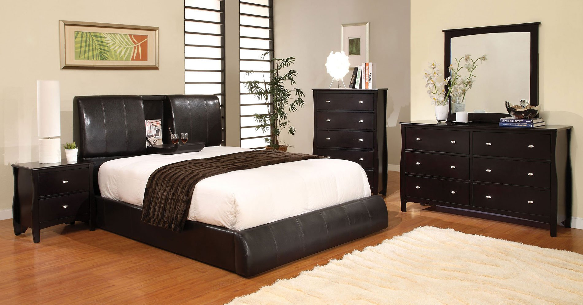 Milano Bedroom Set W/ Webster Upholstered Bed