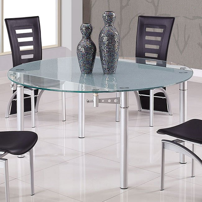 D135 Frosted / Clear Glass Dining Table Global Furniture ...