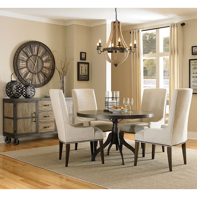 Walton Round Dining Room Set W Upholstered Chairs