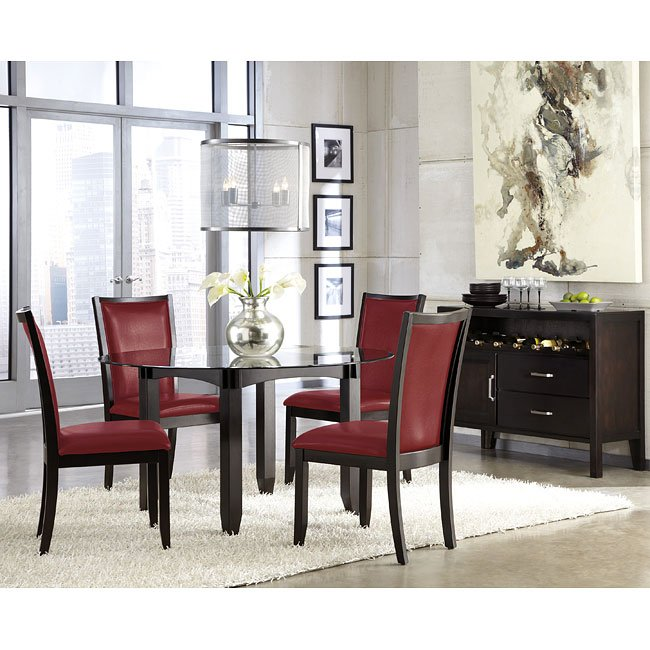trishelle dining room set w red chairs signature design