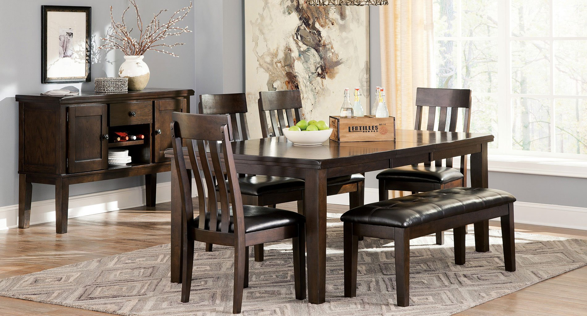 Superb img of Dining Room Set w/ Bench Formal Dining Sets Dining Room  with #919D2E color and 1900x1024 pixels