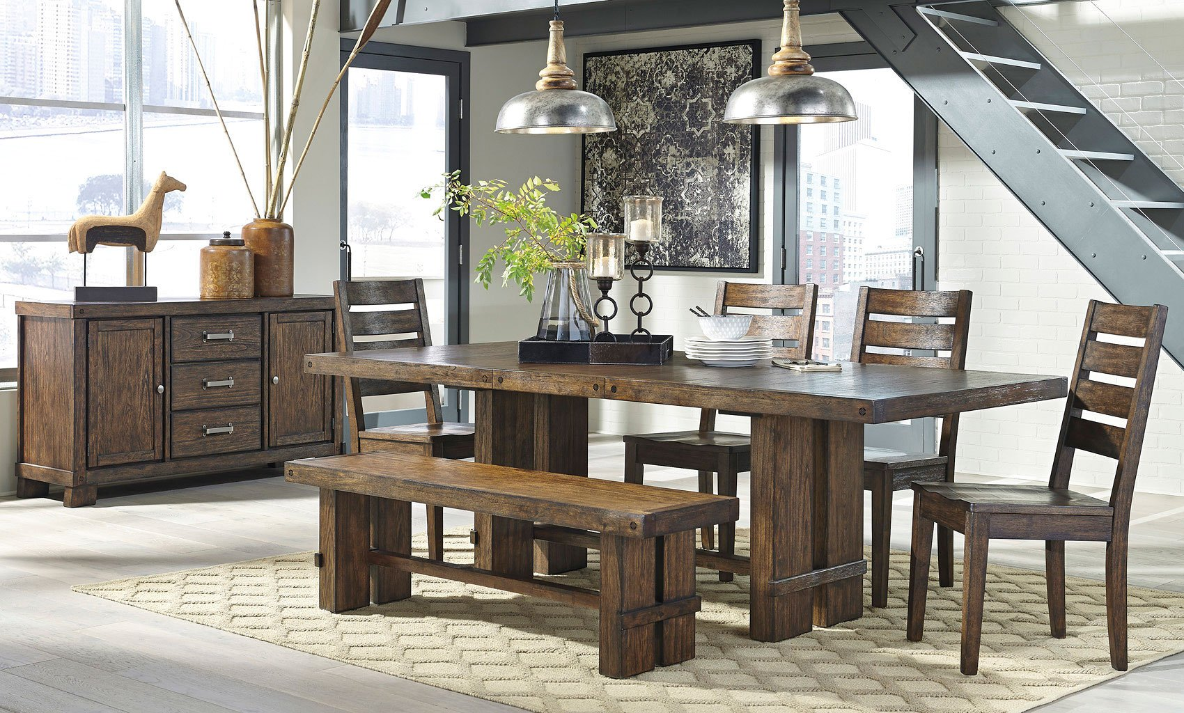 Superb img of Leystone Dining Room Set w/ Bench Formal Dining Sets Dining Room  with #76634A color and 1700x1024 pixels