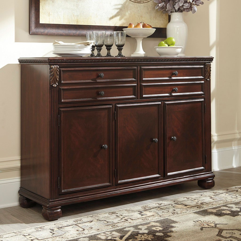 Kitchen Buffet Furniture: Leahlyn Reddish Brown Buffet