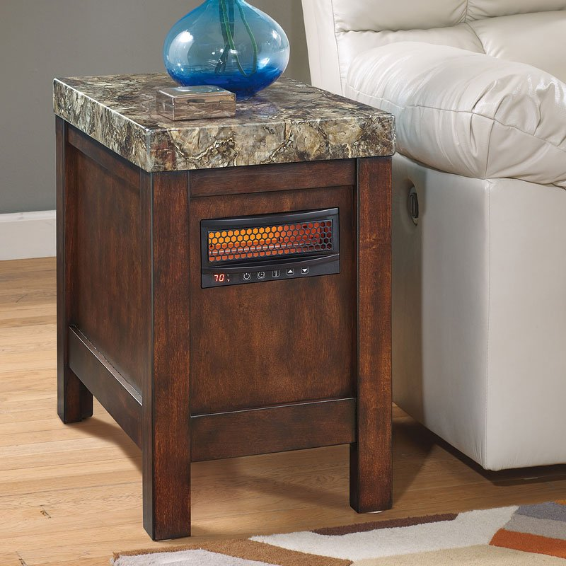 Kraleene Chair Side End Table W Heater End Tables Occasional And Accent Furniture Living Room