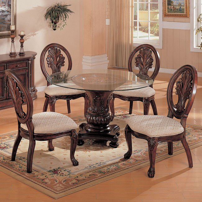 Coaster 101032 Tabitha Traditional Dining Side Chair: Tabitha Round Dining Room Set Coaster Furniture