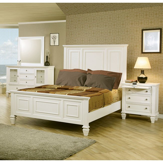 Sandy Beach Panel Bedroom Set (White) Coaster Furniture ...