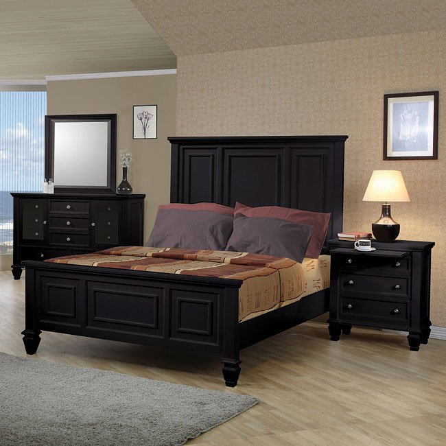 Beach Bedroom Set: Sandy Beach Panel Bedroom Set (Black) Coaster Furniture