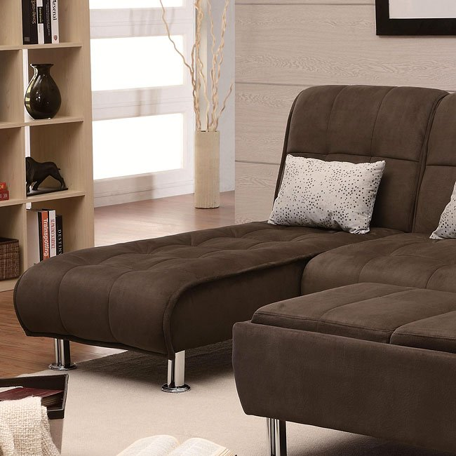 Brown microfiber chaise coaster furniture furniturepick for Brown microfiber chaise lounge