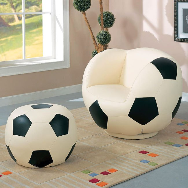 Large Soccerball Chair With Ottoman Coaster Furniture