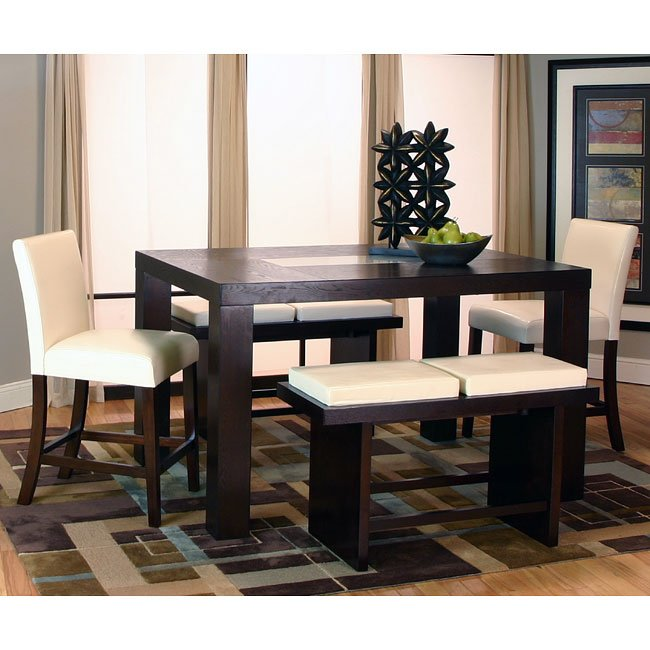 Counter Height Dining Set With Bench : Kemper Rectangular Counter Height Dining Set w/ Ivory Chairs Cramco ...