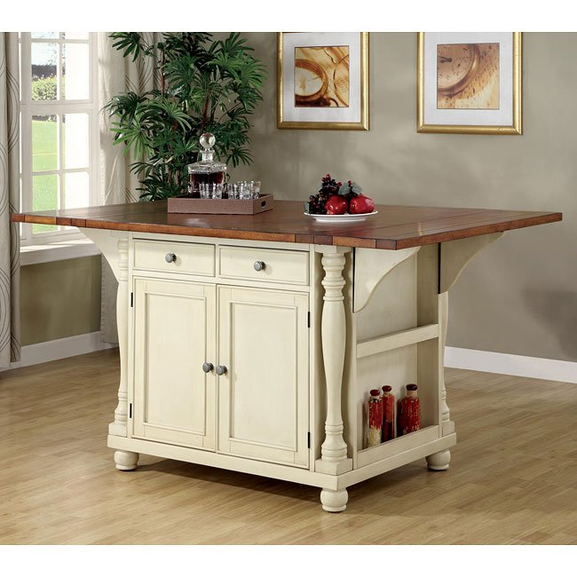 Buttermilk And Cherry Kitchen Island Coaster Furniture