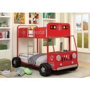 Rescuer II Fire Truck Twin over Twin Bunk Bed