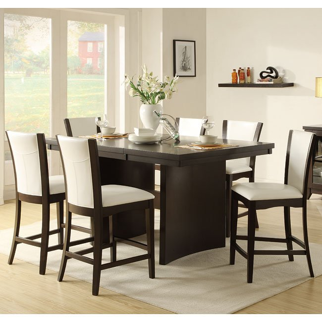 daisy counter height dining room set with white chairs