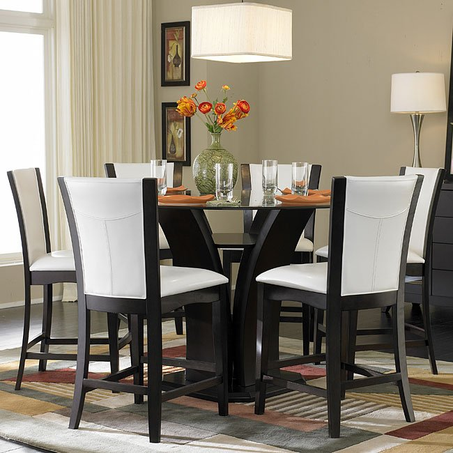 daisy round counter height dinette with white chairs