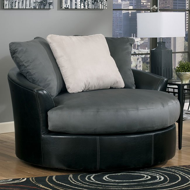 Cobblestone Oversized Swivel Accent Chair