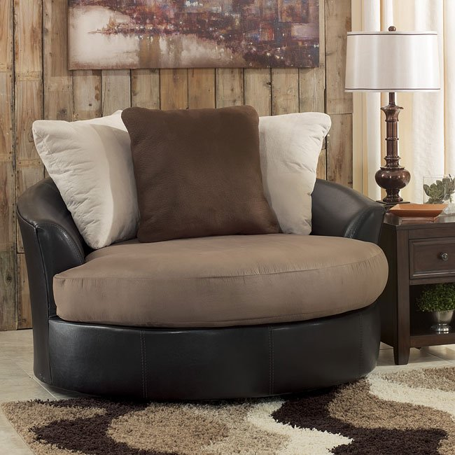 Masoli Mocha Oversized Swivel Accent Chair Signature