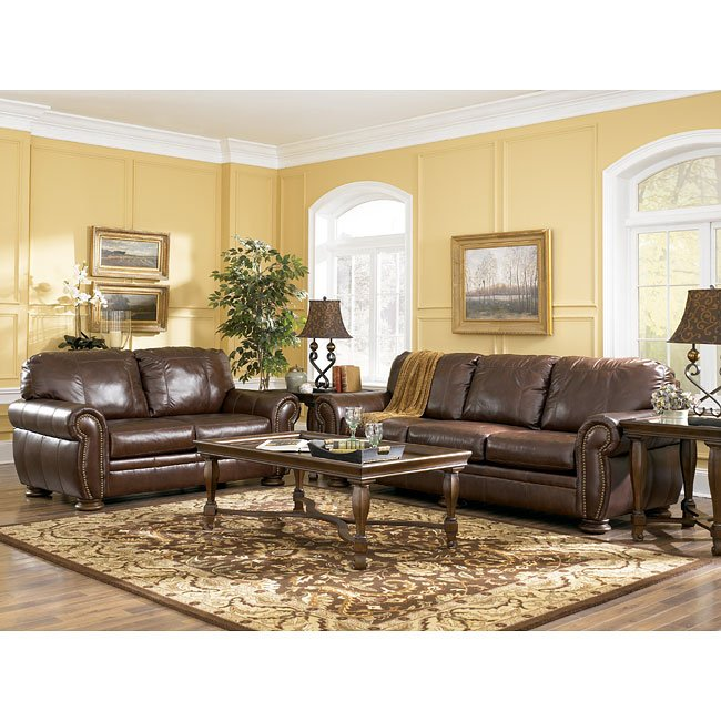 Palmer Walnut Living Room Set Signature Design By Ashley Furniture Furniturepick