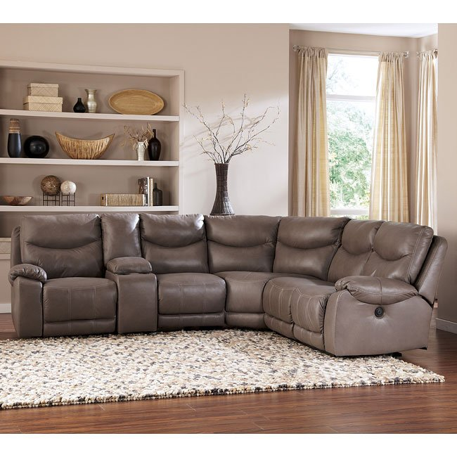 Modular Sectional Sofa Ashley: Pegram Pebble Modular Sectional W/ Console Signature