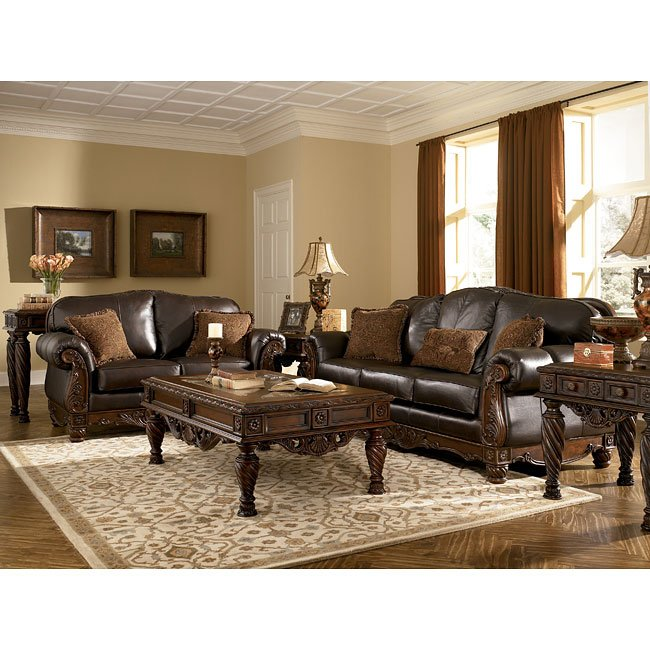 north shore dark brown living room set signature design by ashley