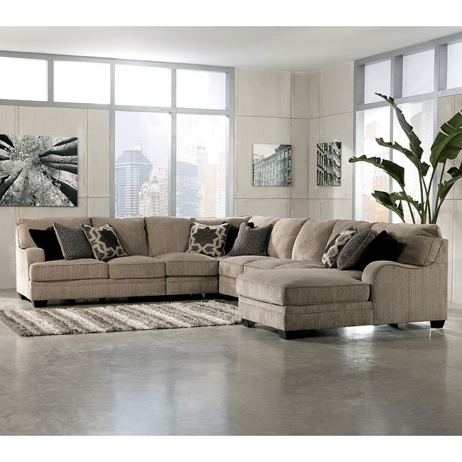 Modular Sectional Sofa Ashley: Katisha Platinum Large Modular Sectional W/ Chaise
