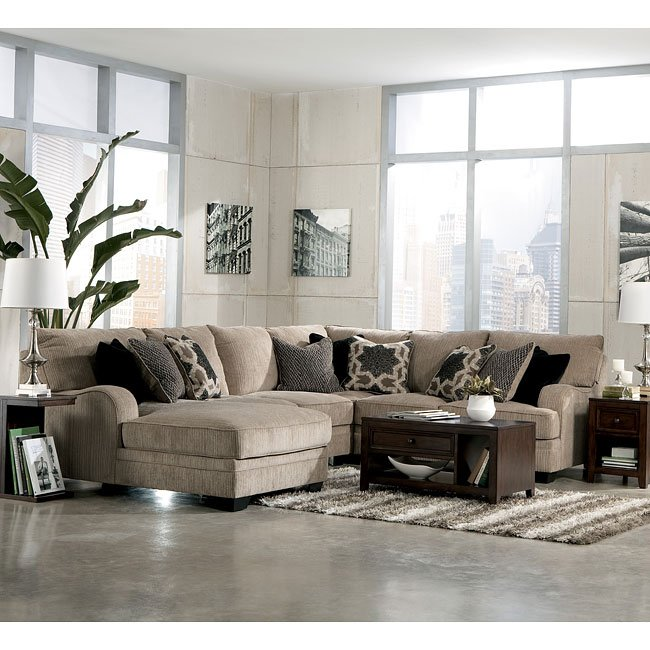 Modular Sectional Sofa Ashley: Katisha Platinum Chaise Sectional Set (Modular) Signature