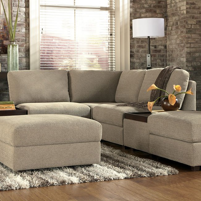 Modular Sectional Sofa Ashley: Tosha Linen Small Modular Sectional Signature Design By