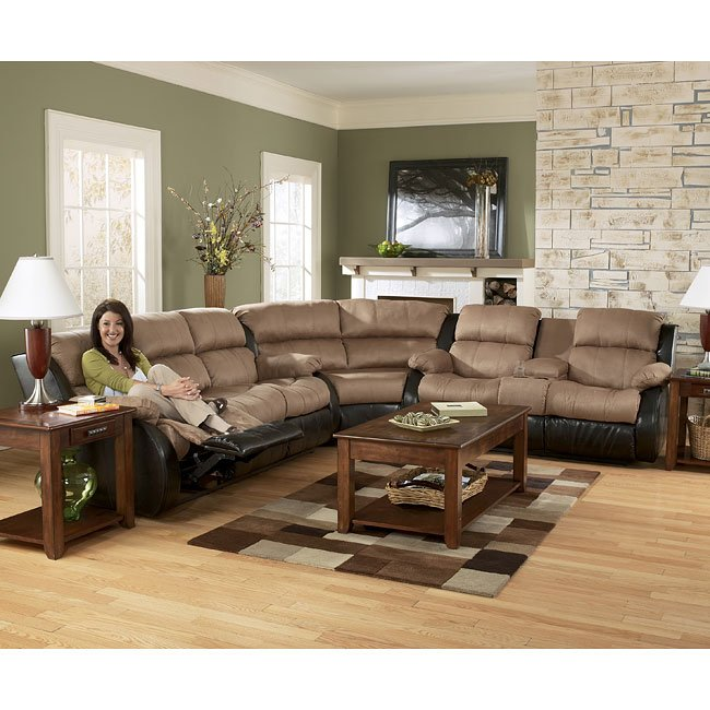 Presley Cocoa Reclining Sectional Living Room Set Signature Design By Ashley Furniturepick