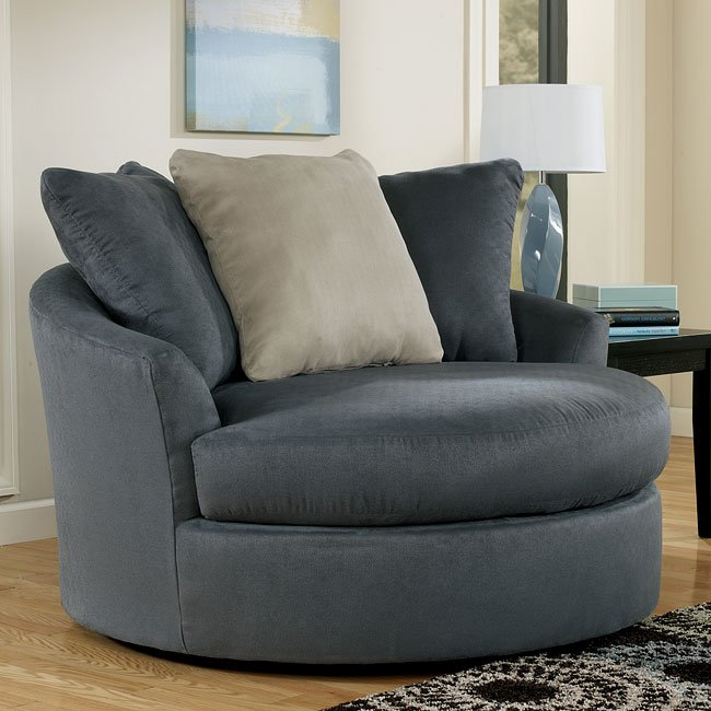 Mindy Indigo Oversized Round Swivel Chair Signature