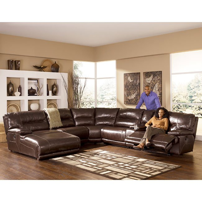 Exhilaration chocolate reclining sectional w left for Ashley furniture reclining chaise lounge