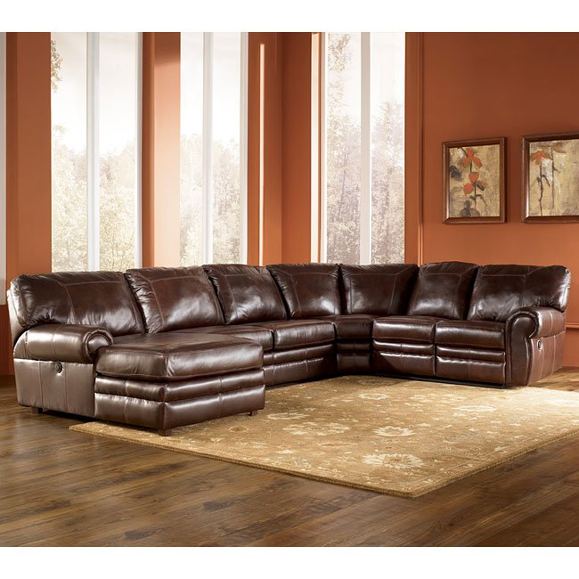 Merrion mahogany left chaise reclining sectional for Ashley reclining chaise