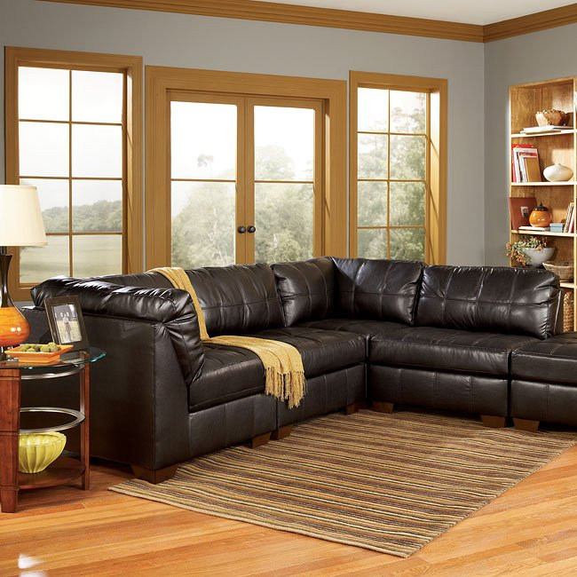 San marco chocolate modular sectional signature design for Ashley san marco chaise