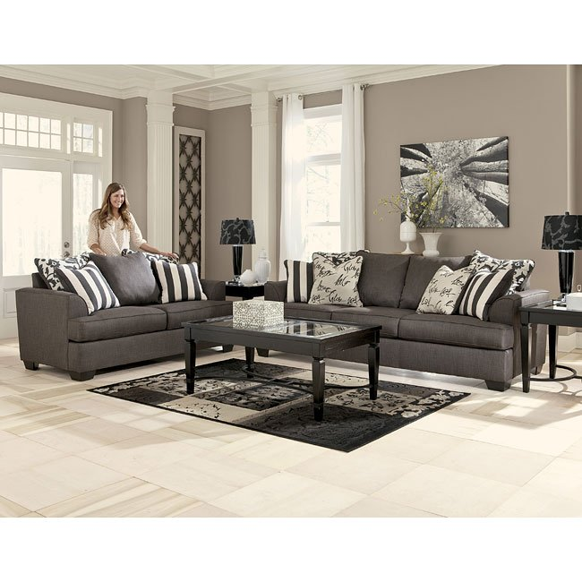 Levon Charcoal Living Room Set Signature Design by Ashley ...