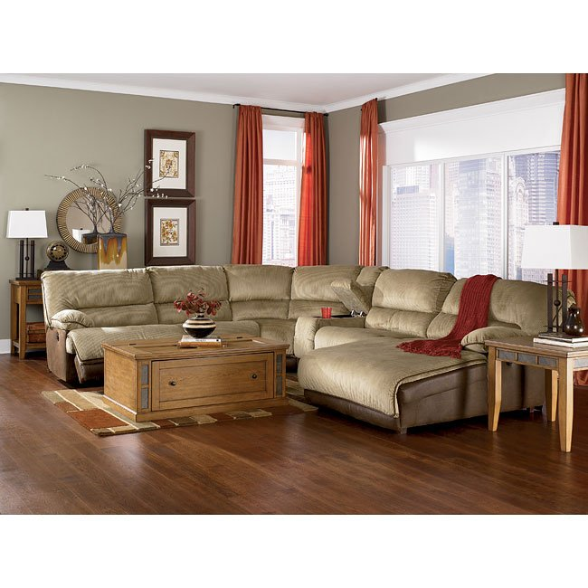 Dempsey cappuccino modular sectional signature design by for Furniture xchange new jersey