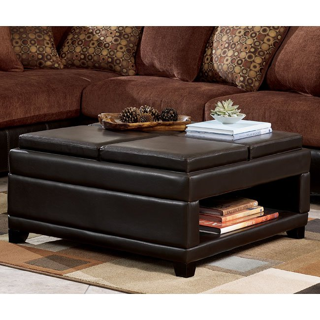 Ashley Furniture Leather Storage Ottoman With Wood ~ Cody brown ottoman w storage and trays signature design