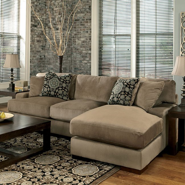 Ashleys Furiture: Mocha Right Chaise Small Sectional Signature