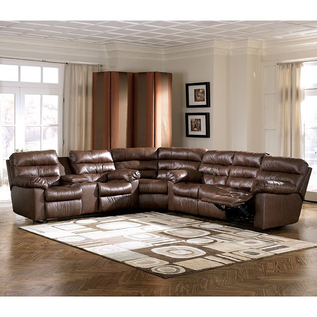 Memphis Brown Reclining Sectional Signature Design by