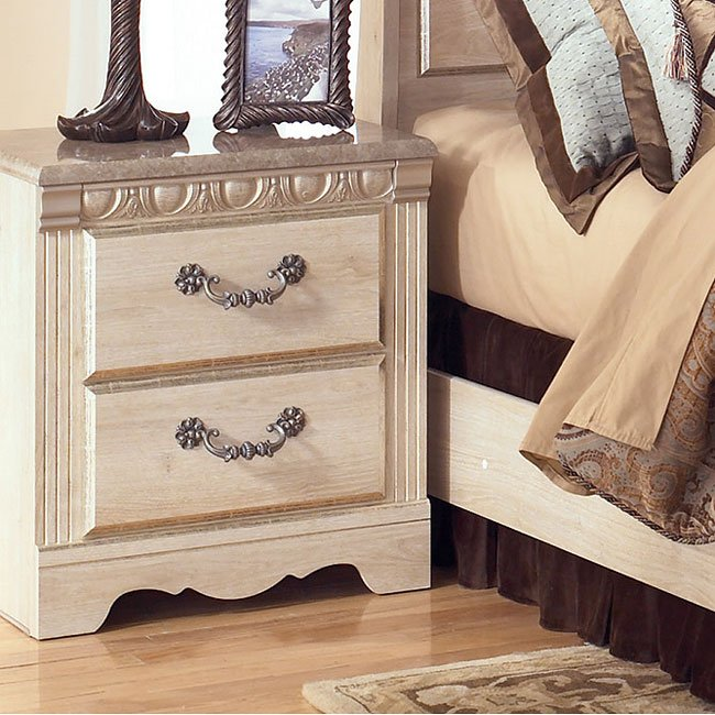 Silverglade two drawer night stand signature design by ashley furniture furniturepick for Silverglade mansion bedroom set ashley furniture